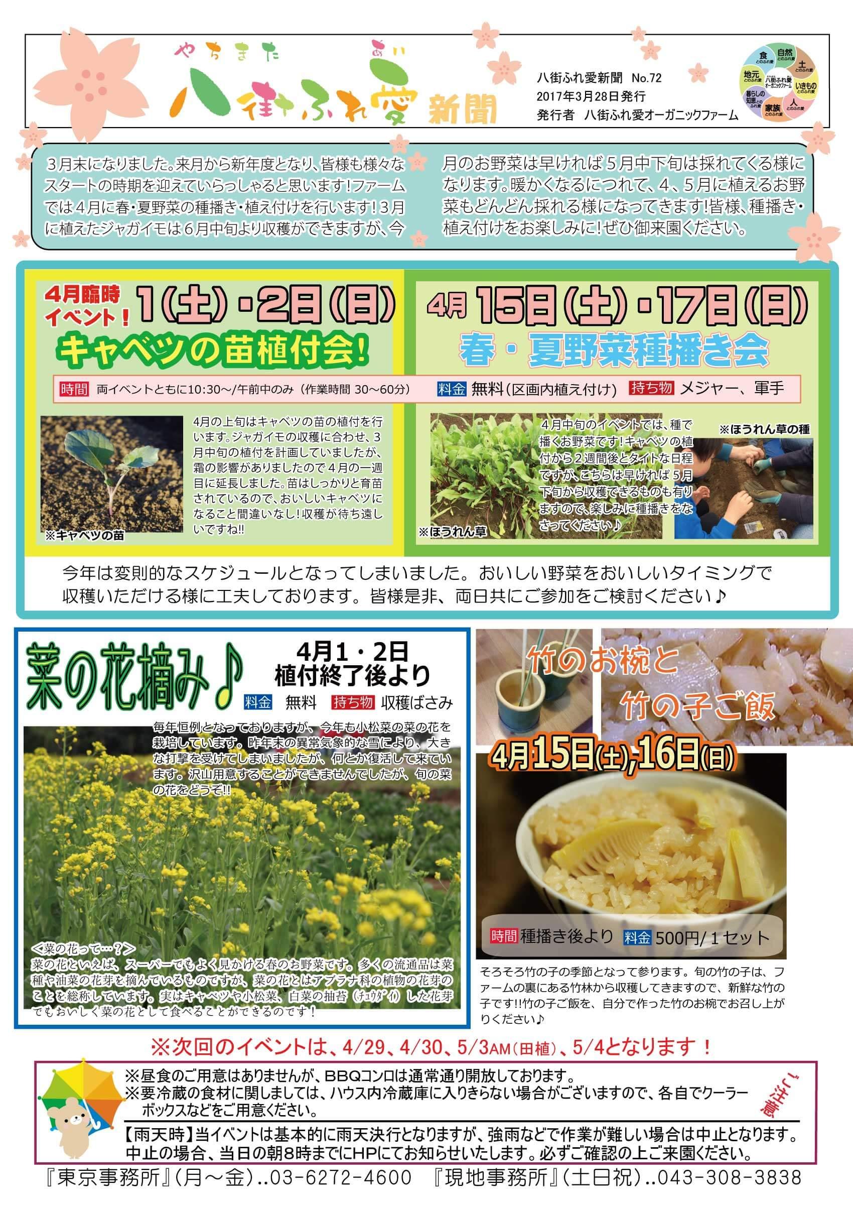 菜の花つみ 竹のお椀と竹の子ご飯
