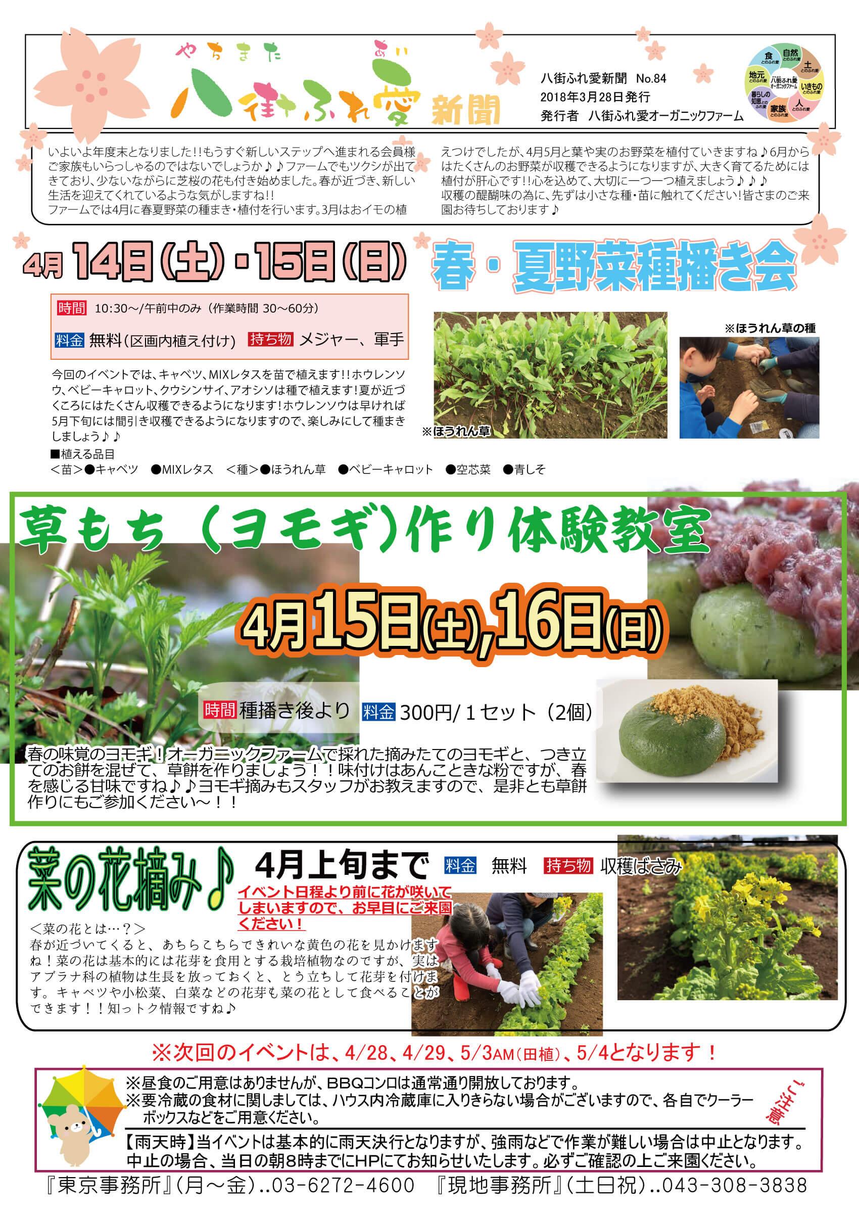 4月14日(土)・15日(日)春・夏野菜種蒔き会 今回のイベントでは、キャベツ、MIXレタスを苗で植えます!ほうれん草、ベビーキャロット、クウシンサイ、あおしそは種で植えます!夏が近づくころにはたくさん収穫できるようになります!ほうれん草は早ければ5月下旬には間引き収穫できるようになりますので、楽しみにして種蒔きしましょう♪